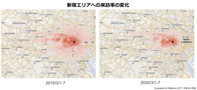 新宿来訪率の変化